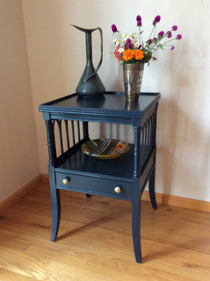 Finished Navy Blue Side Table